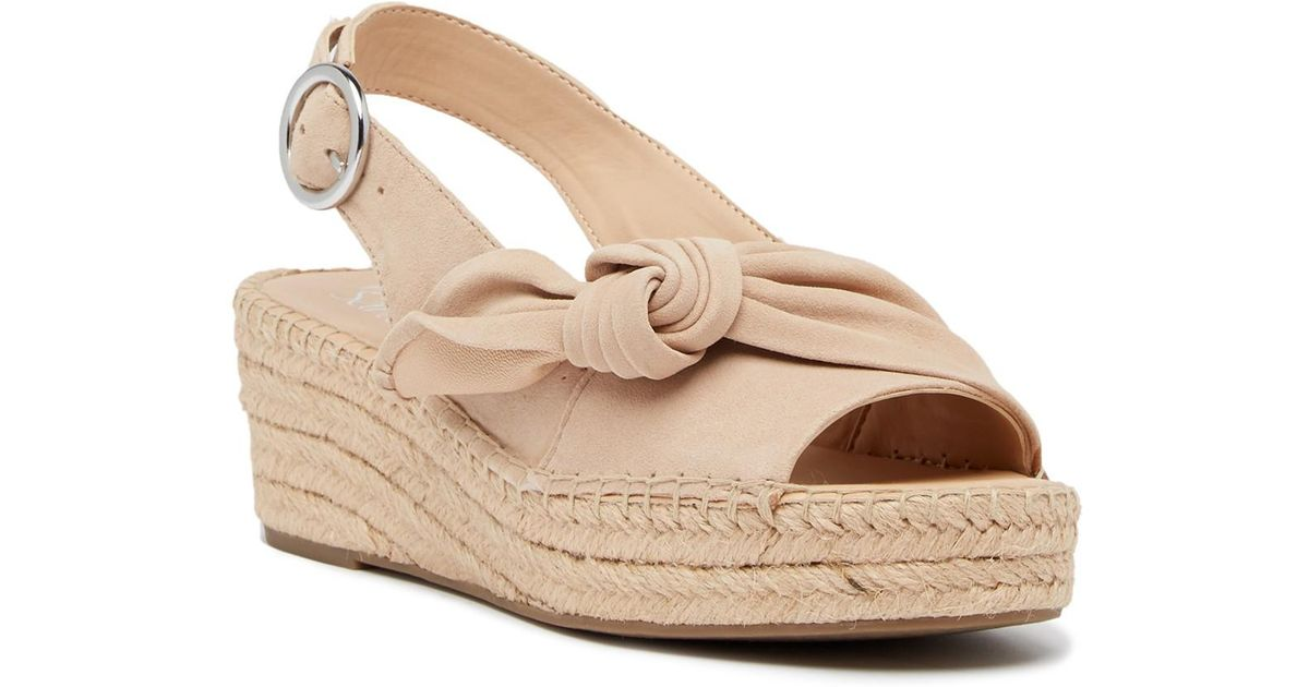 5bef8a8c8760 Lyst - Franco Sarto Pixie Suede Slingback Wedge Sandal in Natural