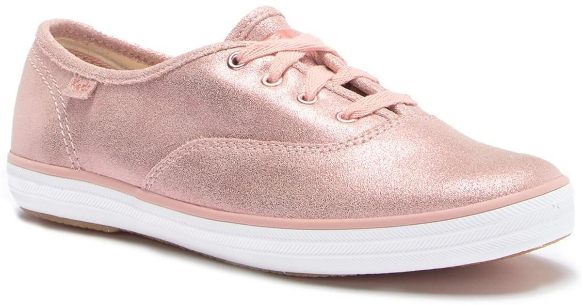 a82554b092a7 Lyst - Keds Champion Glitter Suede Sneaker in Pink