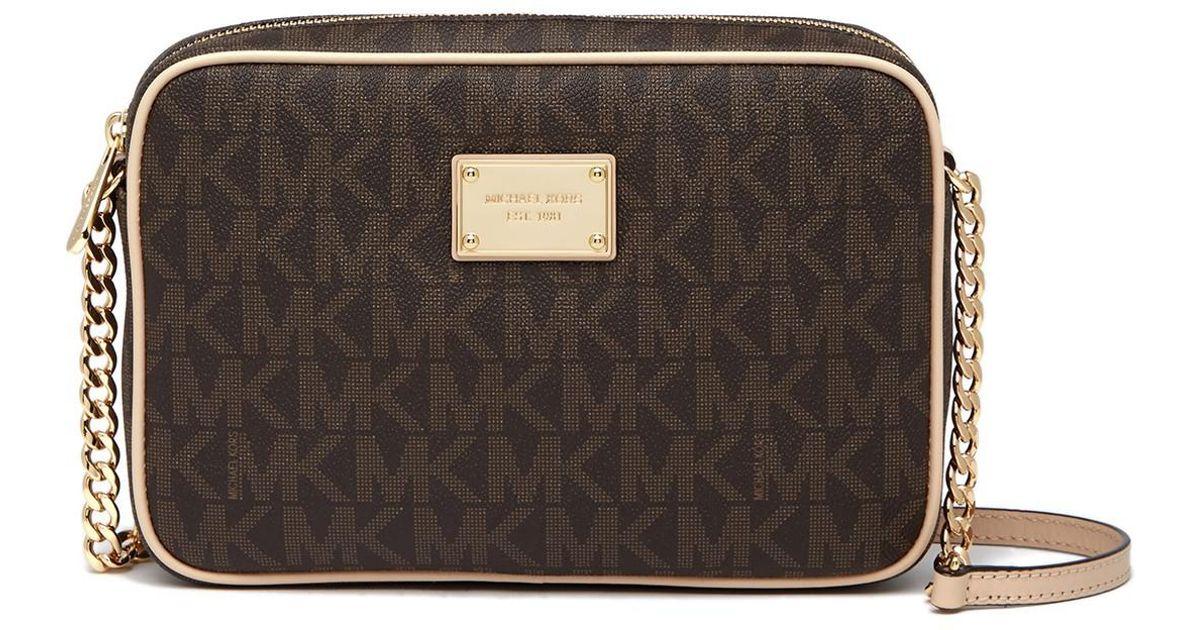 b1c16b801c31 MICHAEL Michael Kors Monogram Logo Crossbody Bag in Brown - Lyst