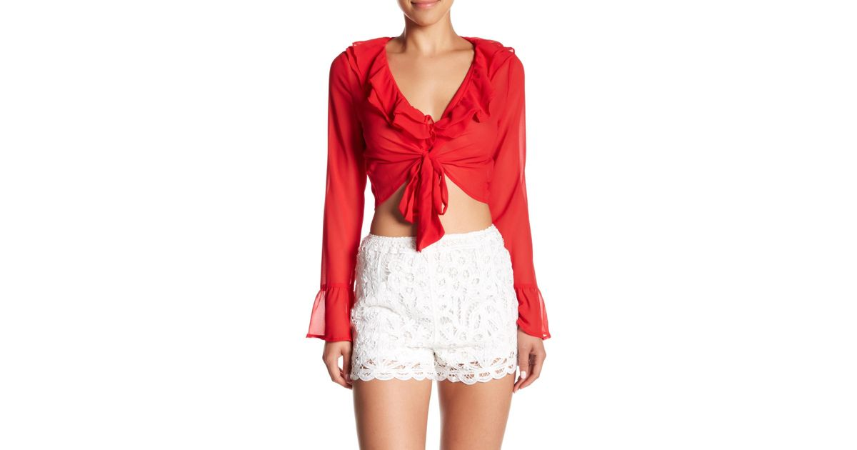 7f4182023a0 Lyst - Honey Punch Ruffle Tie Top in Red