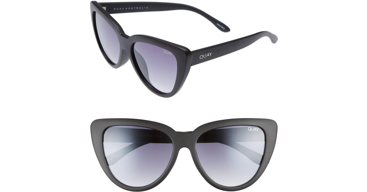 79d9d759fb Lyst - Quay Stray Cat 58mm Mirrored Cat Eye Sunglasses in Black