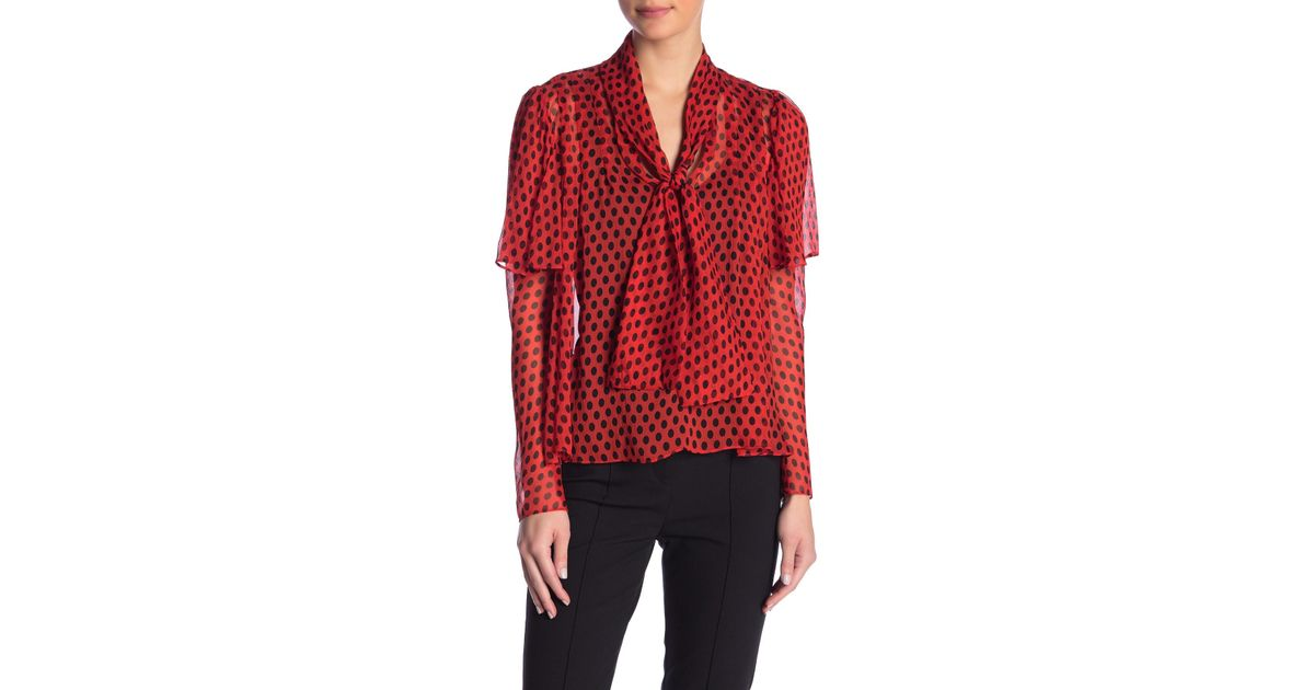 e5d0d18c Diane von Furstenberg Nami Patterned Silk Tie Neck Blouse in Red - Lyst