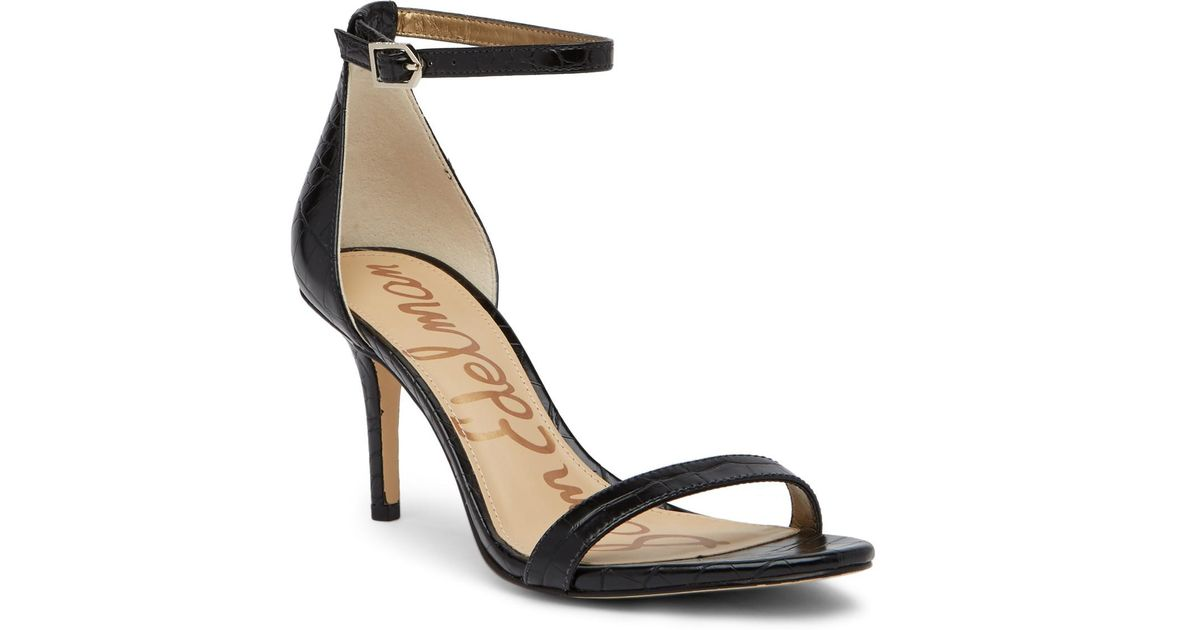 ffe24235efc2f9 Lyst - Sam Edelman Patti Croc Embossed Ankle Strap Pump in Black
