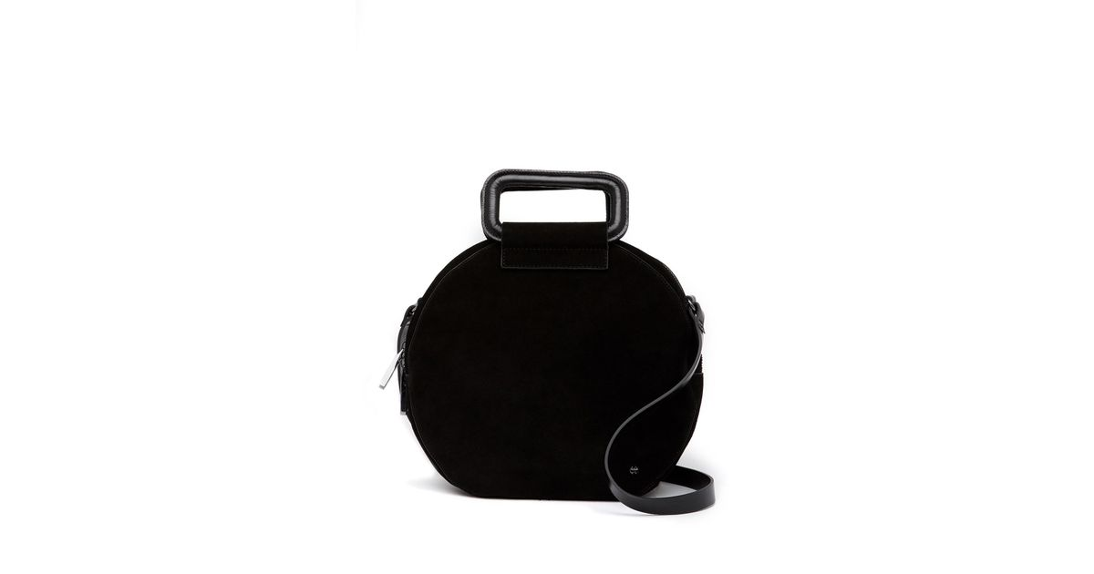 9c16b66272 Lyst - Halston Suede Handle Circle Suede Crossbody Bag in Black