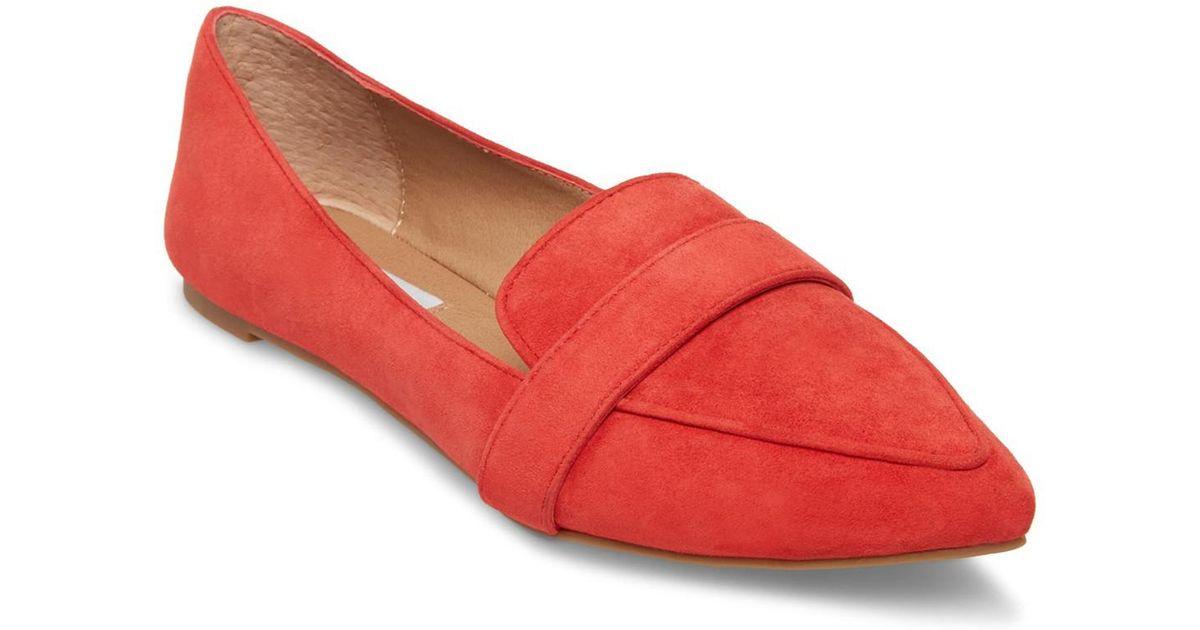 5a642557612 Lyst - Steve Madden Jainna Suede Penny Loafer in Red