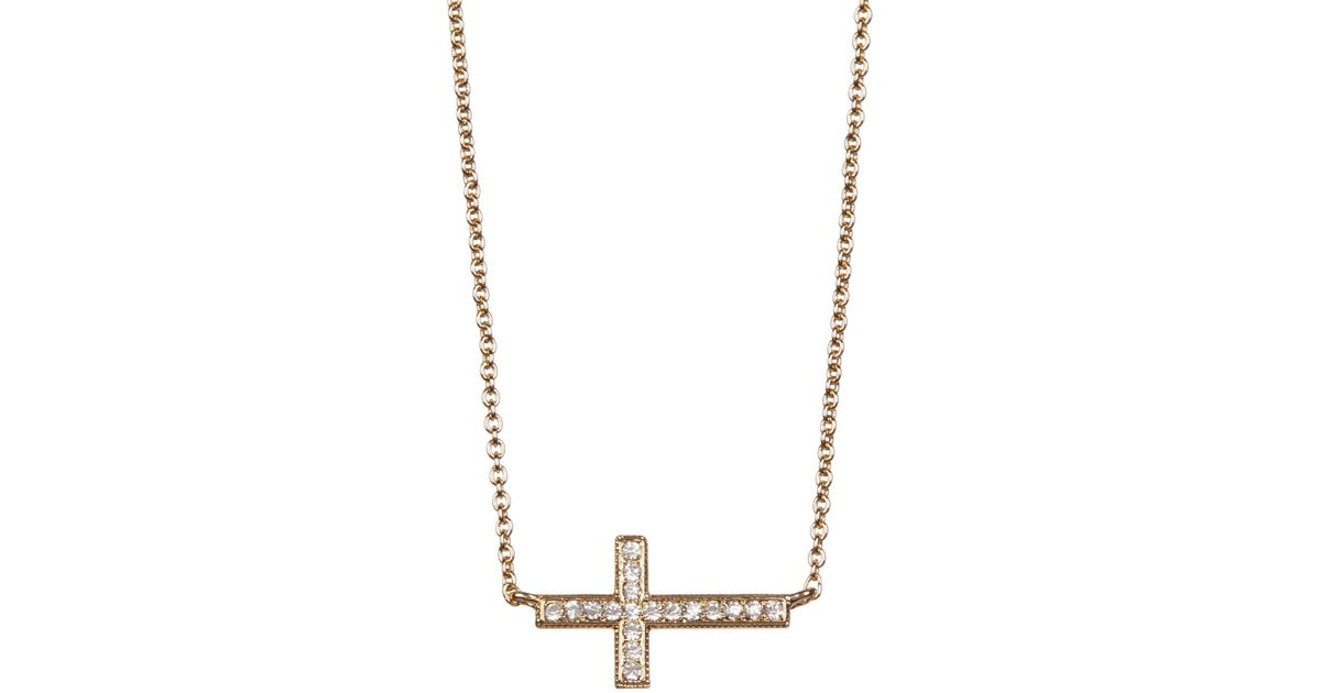 Lyst nadri 18k yellow gold plated pave sideways cross pendant lyst nadri 18k yellow gold plated pave sideways cross pendant necklace in metallic mozeypictures Images