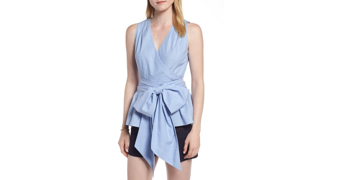 0893fedf553 Lyst - 1901 Cotton Chambray Sleeveless Top (regular   Petite) in Blue