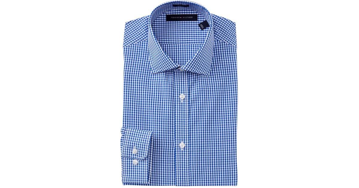 Tommy hilfiger gingham slim fit dress shirt in blue for for Tommy hilfiger gingham dress shirt