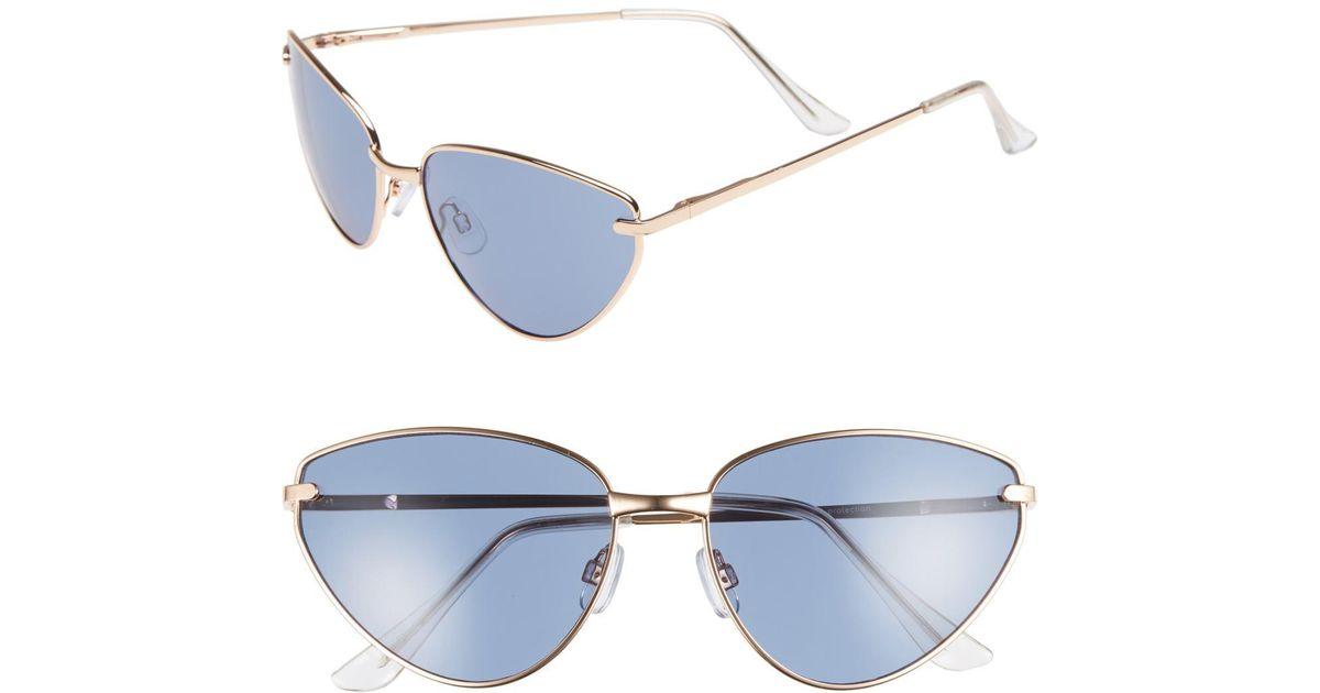 b1896aa521d8b Lyst - Leith 62mm Flat Cat Eye Sunglasses in Blue