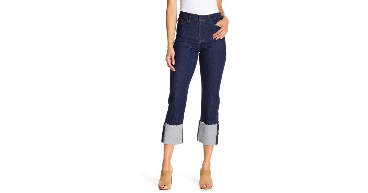 0477d3afdbe Lyst - Hudson Jeans Zoey Cuff Straight Crop Jeans in Blue