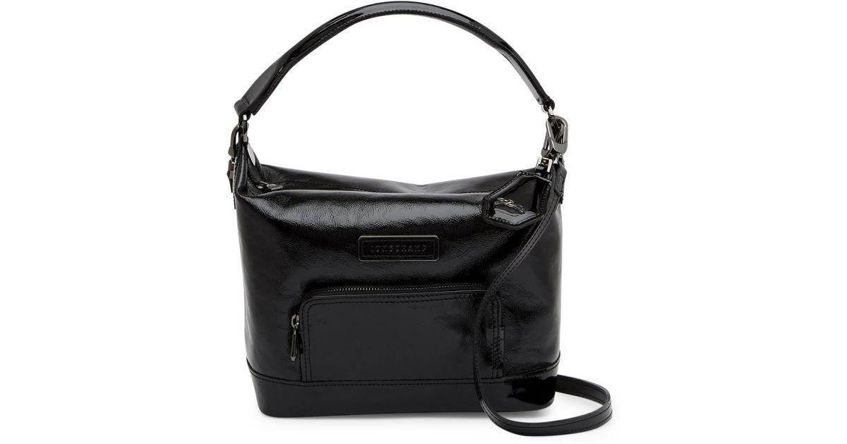 Lyst - Longchamp Legende Verni Leather Shoulder Bag in Black b95833175e2d6