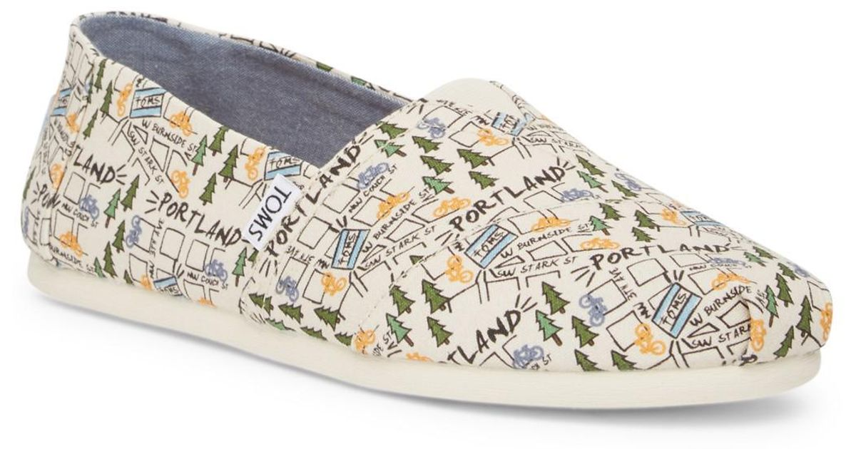 TOMS Classic Portland Printed Natural Canvas Slip-On Shoe hLc6Rfy