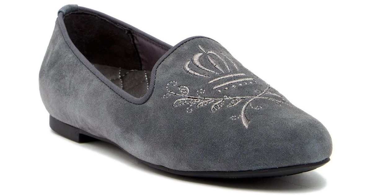 a965868cca6 Lyst - Vionic Romi Embroidered Suede Loafer in Gray