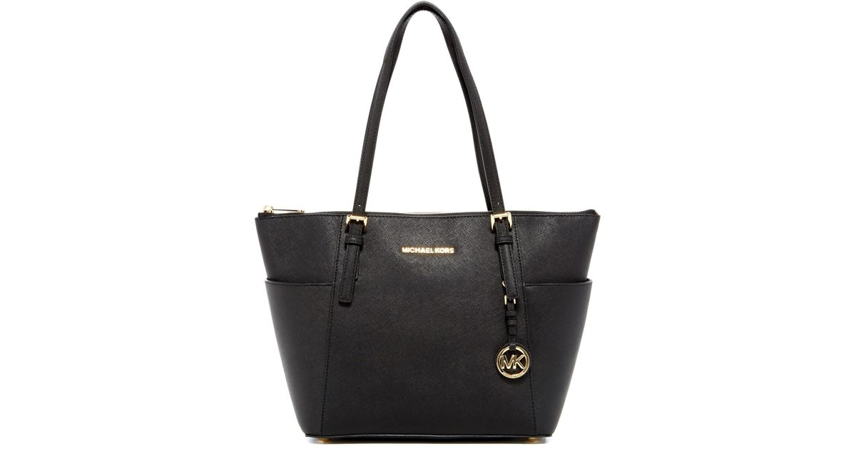 5f10da8adfe0 MICHAEL Michael Kors Jet Set Extra Wide Leather Tote in Black - Lyst