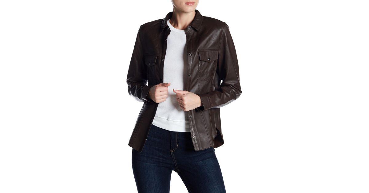 Muubaa Mason Leather Jacket Shirt In Black Lyst
