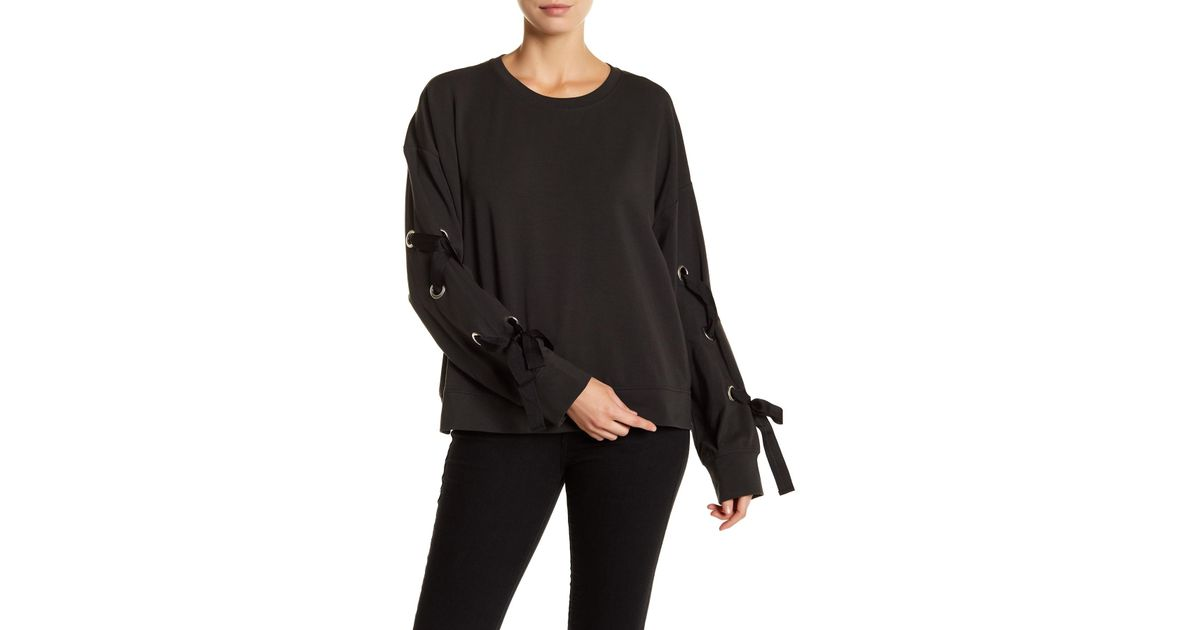 022cd8c135b2d3 Two By Vince Camuto French Terry Lace-up Long Sleeve Sweater in Black - Lyst