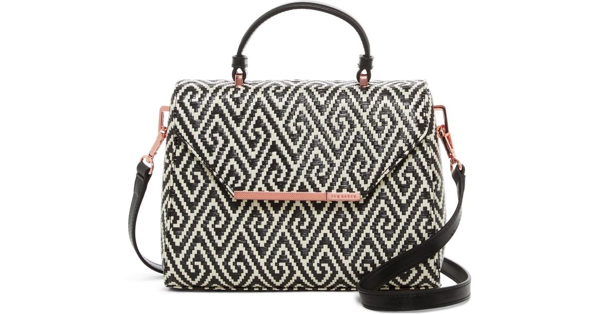 2382ccb5f Ted Baker Harmony Textured Bar Woven Crossbody Bag in Black - Lyst