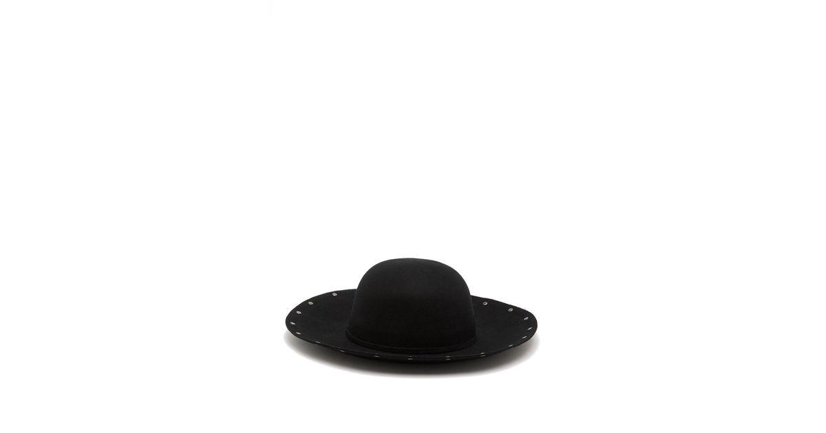 0c7afa15f Vince Camuto - Black Studded Floppy Wool Hat - Lyst