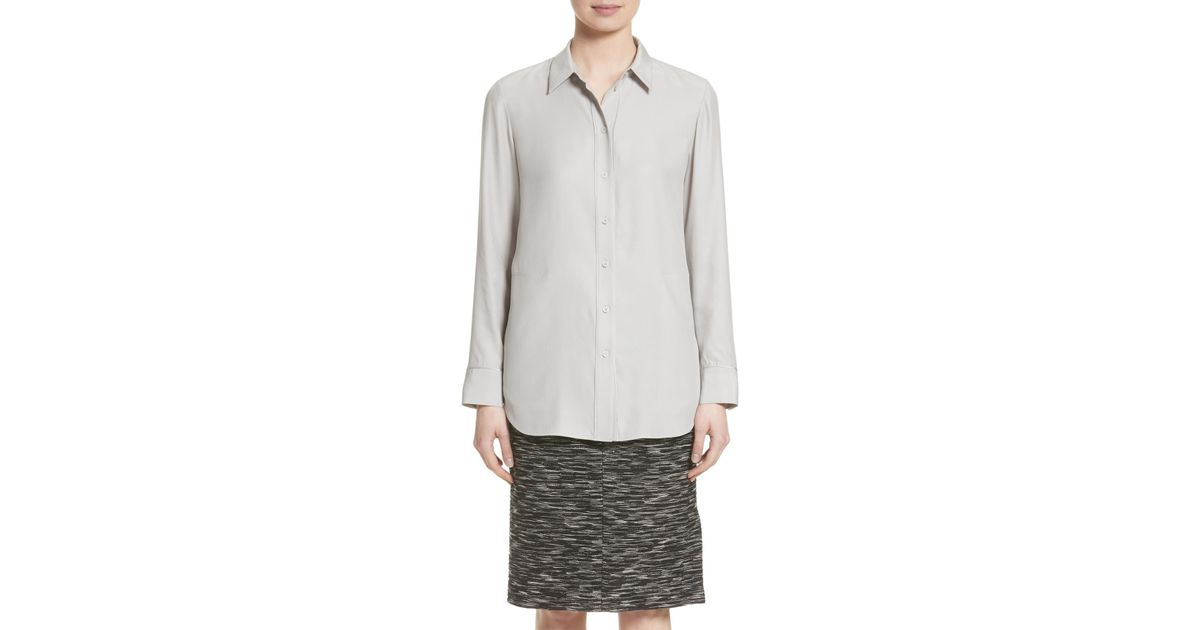 5944b07bfe187 Lyst - Lafayette 148 New York Carlise Silk Blouse in Gray