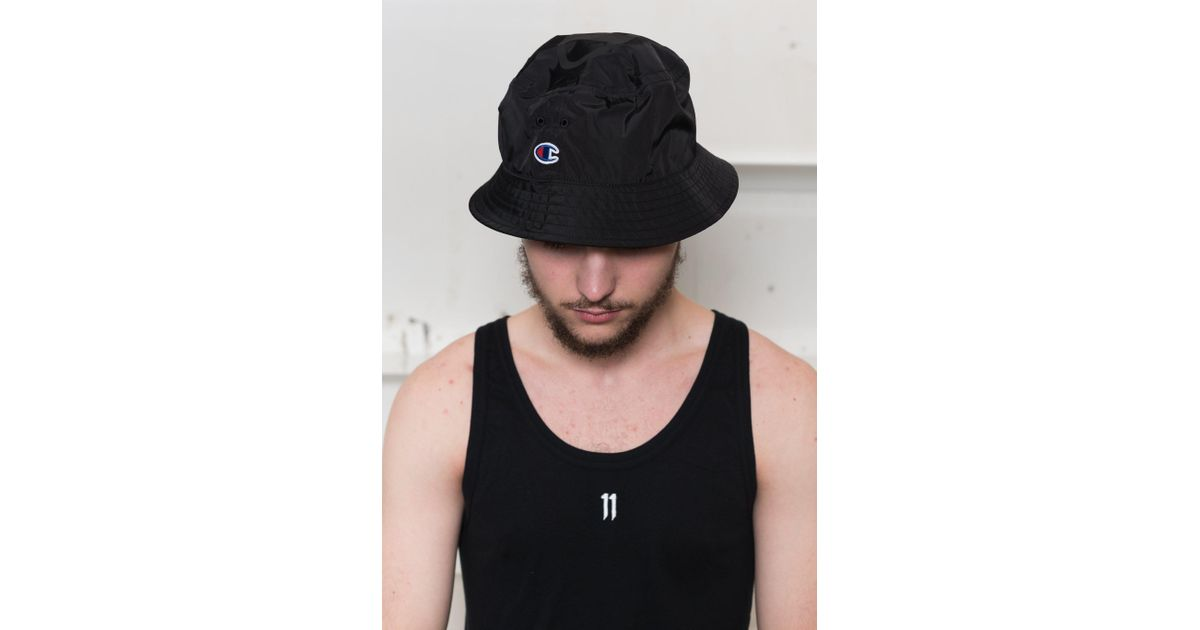 8a0cb45e ... coupon for lyst champion x beams packable bucket hat in black for men  9f086 4977d
