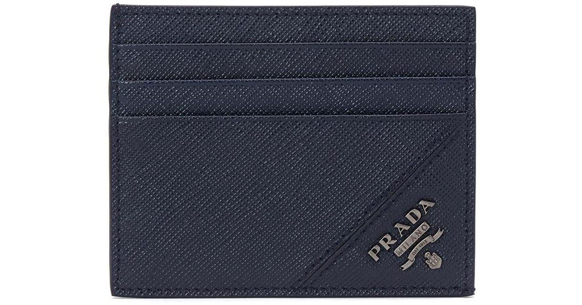 4390958a6e3689 ... norway lyst prada 17ss mens card holder saffiano metal baltico in blue  for men eb11d 01614 ...