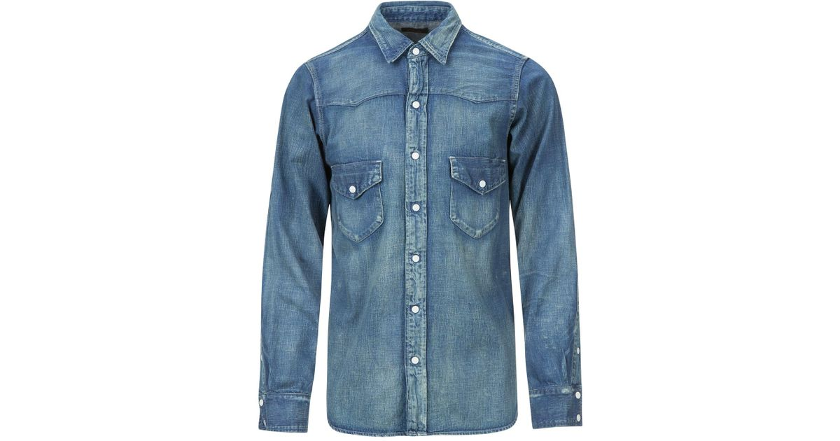 1bec4ec432 Chimala Unisex Denim Western Shirt in Blue for Men - Lyst