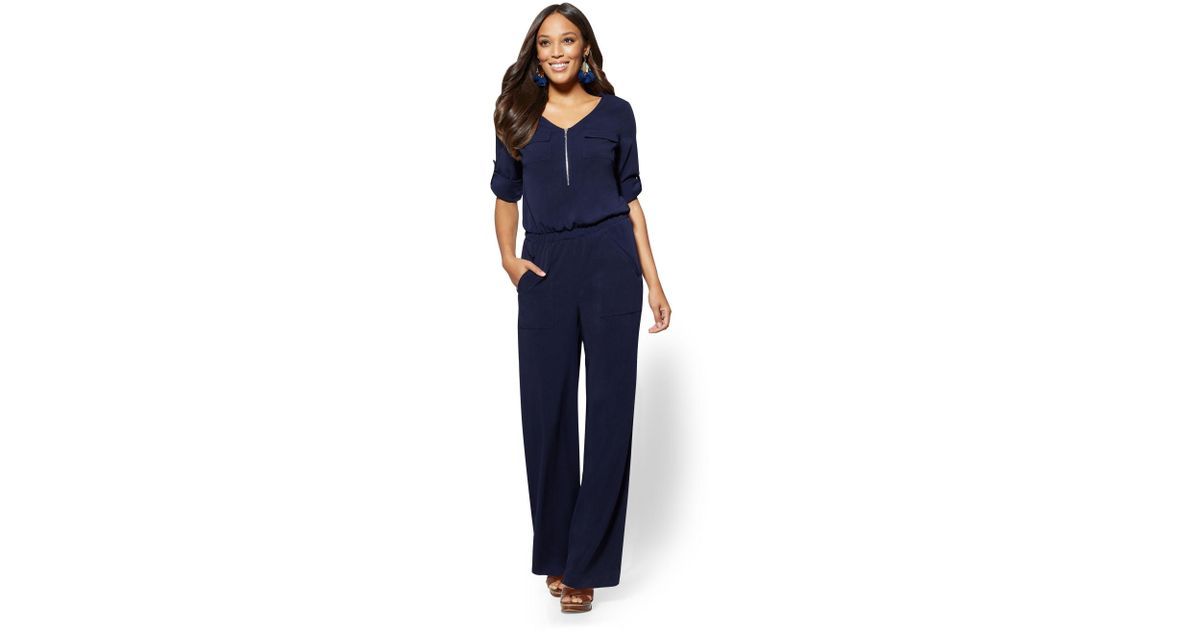 fd308110bc11 Lyst - New York   Company Navy Zip-front V-neck Jumpsuit in Blue