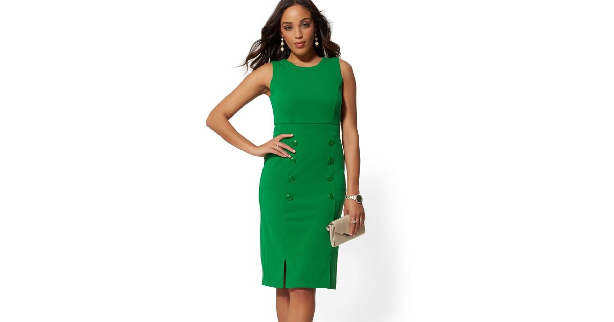 0fbb33cb63d New York   Company Button-accent Sheath Dress - Magic Crepe in Green - Lyst