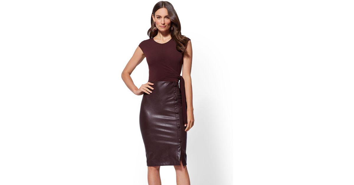 4546388698 Lyst - New York   Company 7th Avenue - Faux-leather Sheath Dress in Purple