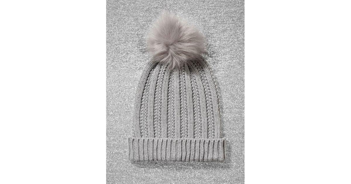 92d0fabbb New York & Company - Gray Metallic Pom-pom Trim Ribbed-knit Hat - Lyst