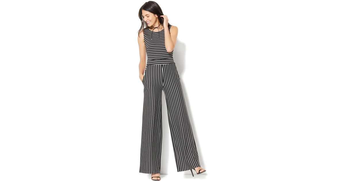 3dcb7fb42b3 Lyst - New York   Company Sleeveless Tie-back Jumpsuit - Stripe in Black