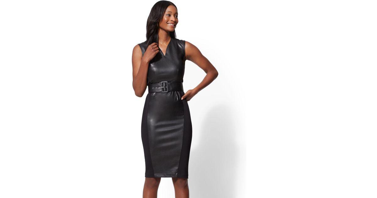 c7a6652aa0 Lyst - New York   Company 7th Avenue - Petite Faux-leather Sheath Dress in  Black