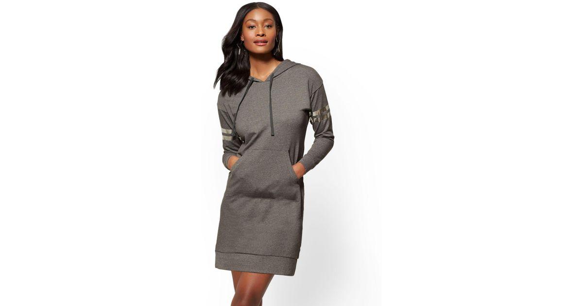 c6eff27fb0337 New York & Company Soho Street - Metallic-foil Stripe Hooded Sweatshirt  Dress - Lyst
