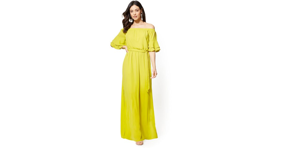 a02f243b7895 Lyst - New York   Company Off-the-shoulder Maxi Dress in Yellow