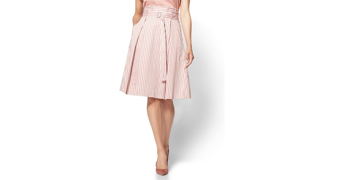 6075aa7f7a Lyst - New York & Company 7th Avenue - Paperbag-waist Skirt - Rose Stripe  in Pink