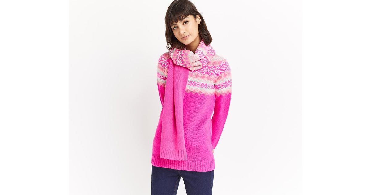 oasis fair isle ombre scarf in pink lyst