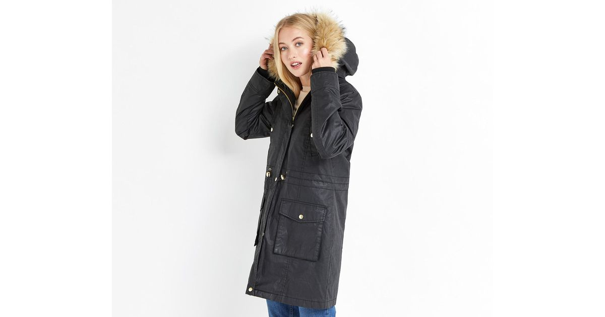 Oasis Borah Wax Parka in Black | Lyst