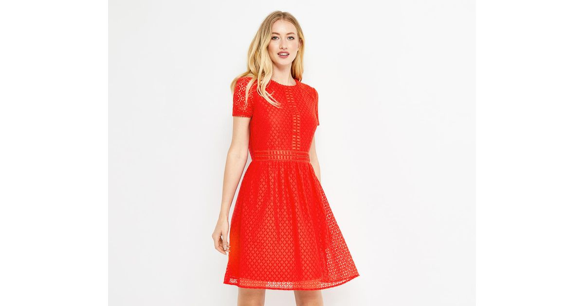 3cb8b59c1e3f Oasis Lace Day Skater Dress in Red - Lyst