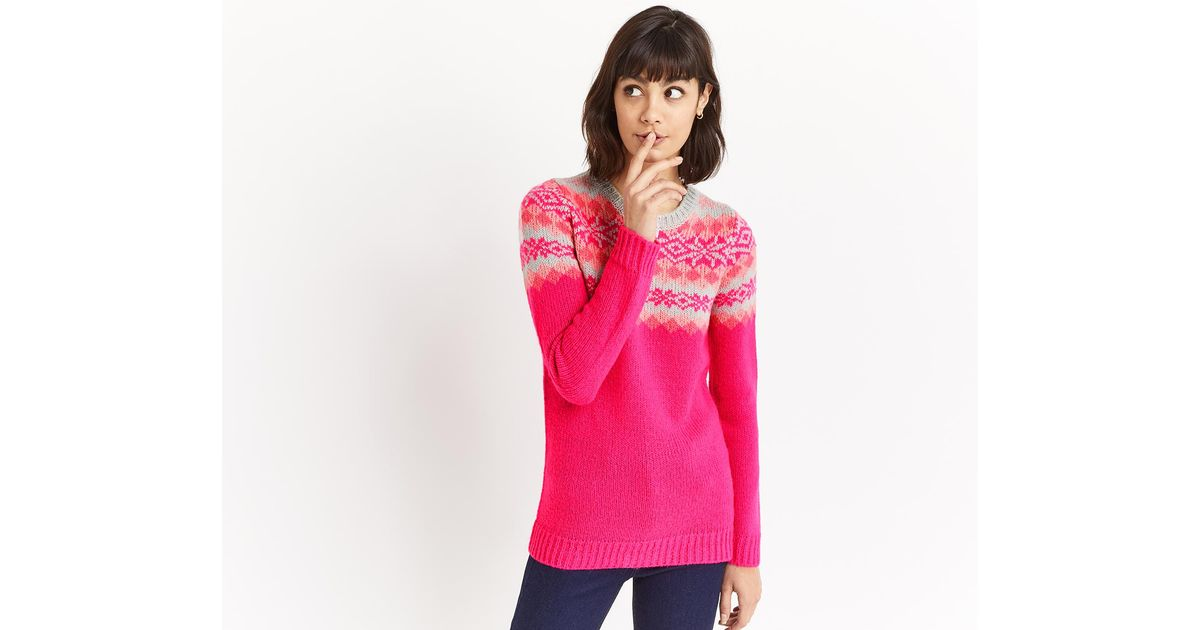 Lyst - Oasis Fair Isle Knit Long in Pink