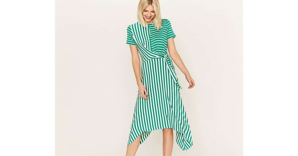 139938d51c81 Oasis Asymmetric Stripe Dress in Green - Lyst