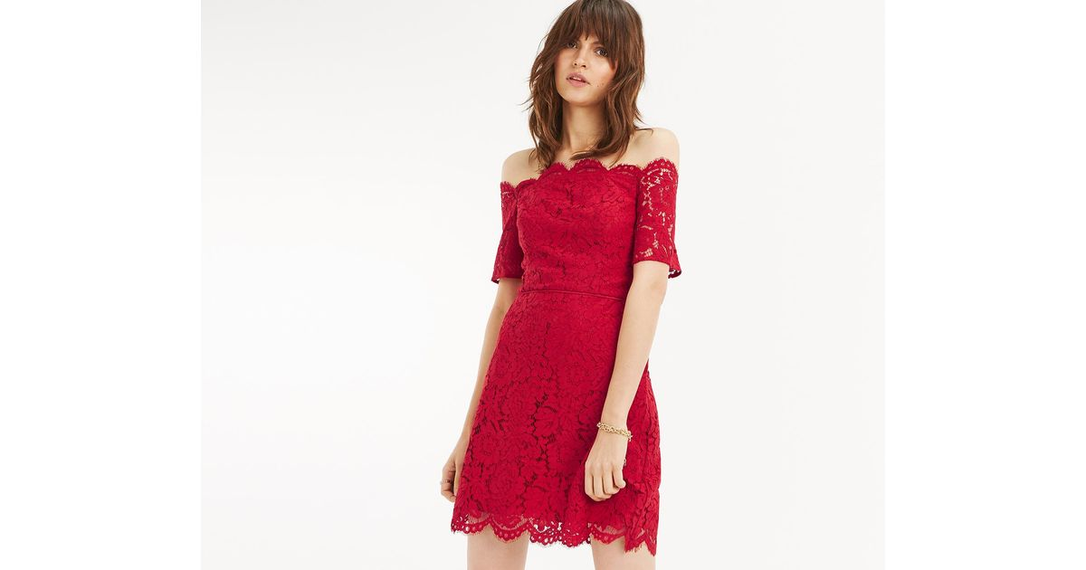 f78df67ba2d3 Lyst - Oasis Lace Bardot Shift Dress in Red