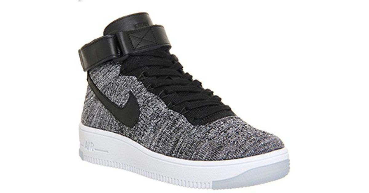 100% authentic 6f47c 67683 Nike Air Force 1 Mid Flyknit in Black for Men - Lyst