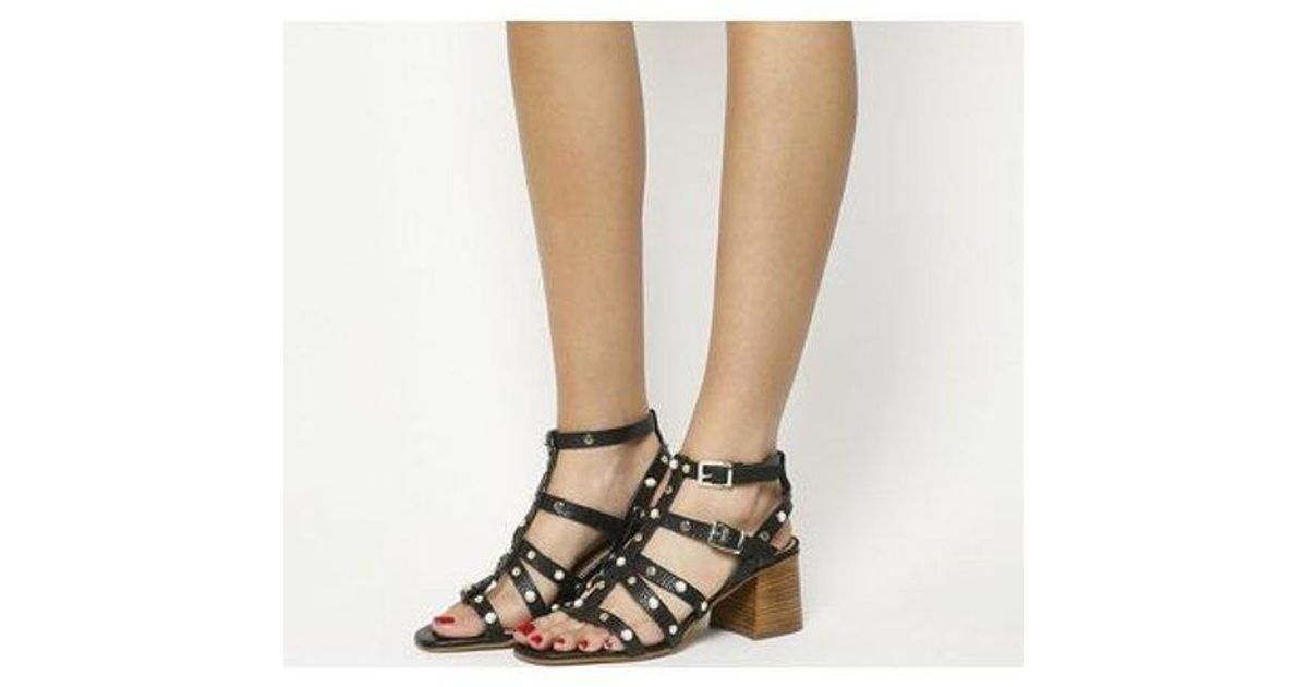 42a07a9ffaa Lyst - Office Margate Studded Strappy Block Heel in Black