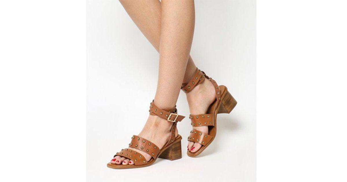 a733c04a229 Office - Brown Fan Girl Block Heel Studded Sandal - Lyst