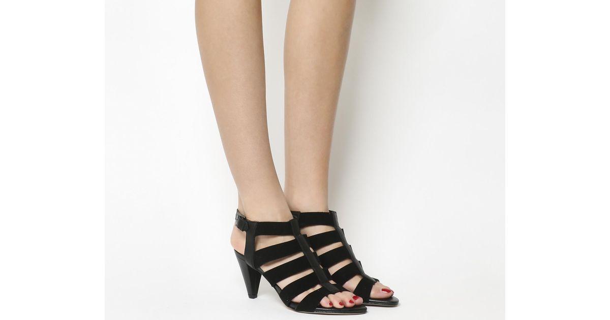 7e61fe1bb1bd Lyst - Office Magic Spell Cone Heel Gladiator Sandals in Black
