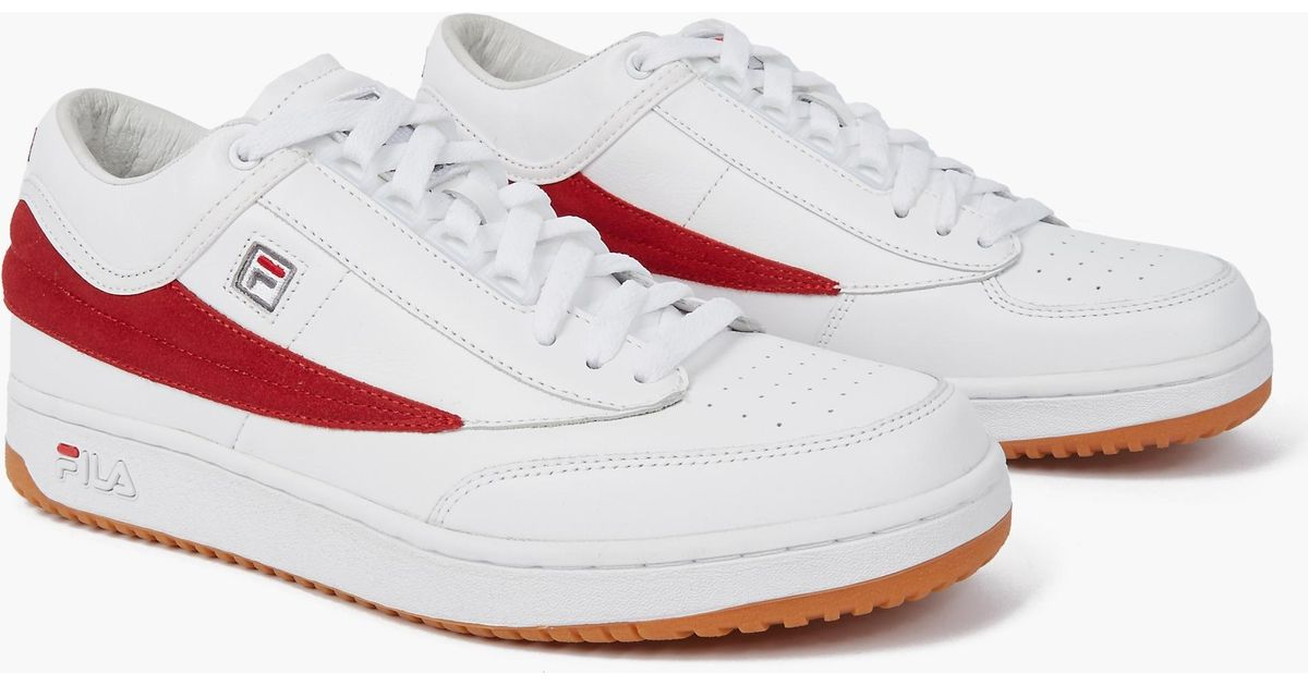 Gosha rubchinskiy X Fila T-1 Mid-Top Leather Sneakers in White for Men | Lyst