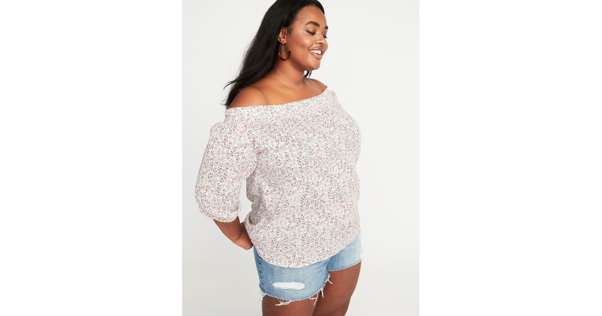 8032bc56b17c Lyst - Old Navy Off-the-shoulder Plus-size Floral Top