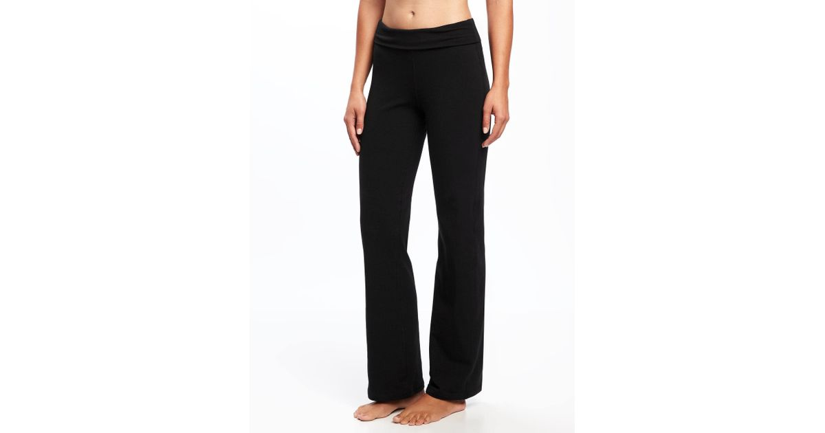 ee6efa92d5cc7 Old Navy - Black Mid-rise Wide-leg Roll-over Yoga Pants - Lyst