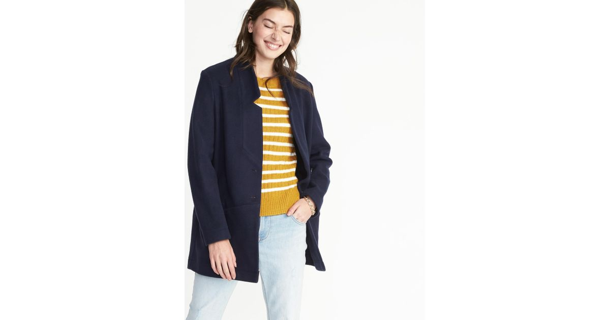 35d07d8763a5b Lyst - Old Navy Brushed-knit Coat in Blue