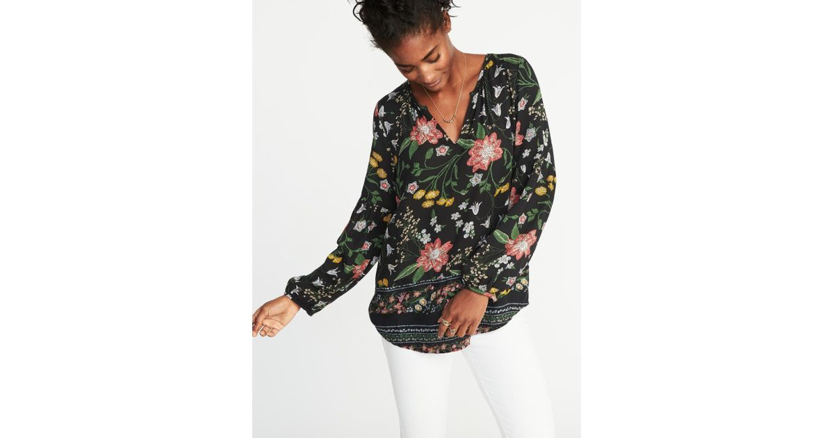 70567404c50995 Old Navy Relaxed Floral-printed Shirred Blouse in Black - Lyst